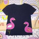 Футболка фламинго, 122 см, 6-7 лет