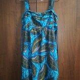 Воздушное натуральное летнее красивенное платье на бретелях с растительным принтом