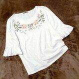 George блуза блузка вышиванка белая в цветы 16 44 рукав волан рюши пог 56 см