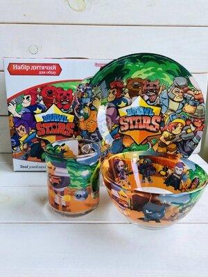 Brawl Stars Детская посуда стекло 3 предмета