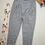 Шикарные стильные брендовые укороченные брюки мом в клетку высокая посадка Zara By Blish оригинал.