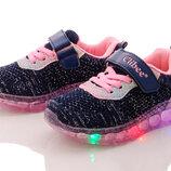 Кроссовки для девочек c мигающей подошвой Тм Clibee F901