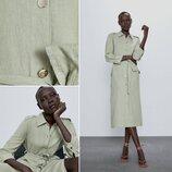 Идеальное льняное платье рубашка миди от ZARA, размер S, M