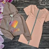 Мега модный комплект кофта и платье для девочки