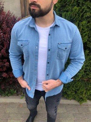 Рубашка джинсовая синяя 18073