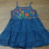 Красивое джинсовое платье сарафан Next 9 лет вышивка
