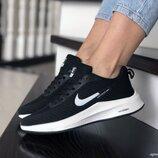 Nike Flyknit Lunar 3 кроссовки женские демисезонные черные с белым 9392
