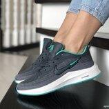Nike Flyknit Lunar 3 кроссовки женские демисезонные серые с белым и мятным 9393