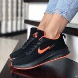 Nike Flyknit Lunar 3 кроссовки женские демисезонные черные с оранжевым 9395