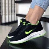 Nike Flyknit Lunar 3 кроссовки женские демисезонные черные с салатовым и белым 9396