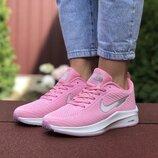 Nike Flyknit Lunar 3 кроссовки женские демисезонные розовые с белым 9398
