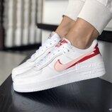 Nike Air Force кроссовки женские демисезонные белые с красным 9400
