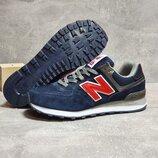 Кроссовки мужские New Balance 574, темно синие c красным