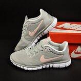 подростковые кроссовки Nike Free Run 3.0 серые с розовым
