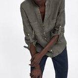 Стильная льняная рубашка хаки от Zara
