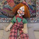 Кукла антикварная 63 см Клоун. Папье маше, набит соломой. родная одежда. Редкость.