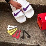 Тапки белые Nike 5 лого.Купить шлепанцы в Украине.