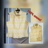 Шелковая блуза желтая рубашка 100% шелк М L