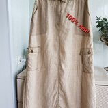 Льняная юбка макси длинная в пол с карманами пояс на шнурке М L