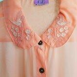 Прозрачная блуза рубашка с вышивкой на подростка рост 158 или девушку XS XXS
