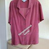 Новая шелковая блуза рубашка цвет гнилой вишни натуралтный шелк L XL