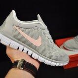 Кроссовки женские сетка Nike Free Run 3.0, серые c розовым