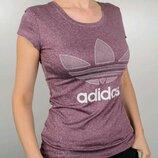 Футболка женская Adidas меланж бордо.
