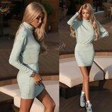 Короткое платье-гольф Мятное