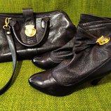 Черные ботинки полусапожки Berkonty. Размер 37-38. стелька 24,5см. натуральная кожа.