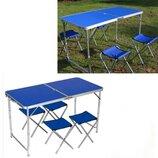 Стол раскладной 4 стула Folding table NO.1 Синий