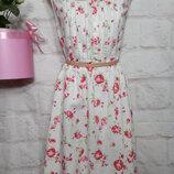 Платье миди натуральное льняное пышная юбка р 18 tu большой размер