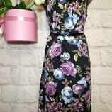 Платье миди коттоновое натуральное с красивой вставкой р 14 george