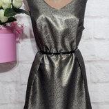 Платье миди нарядное новое люрекс пышная юбка р 16 tu