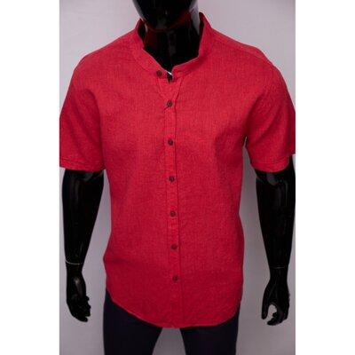 Рубашка мужская льняная Porte Ricco 16535-2 батал короткий рукав красная