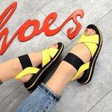 Кс330447 Женские желтые босоножки кожаные