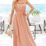 Женское длинное платье в горошек ткань евробенгалин арт.67445 скл.1