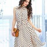 Приталенное платье в горошек, 2 цвета,р. s - xl