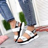 Женские кожаные босоножки липучки Nike