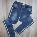 Стильные подростковые джинсы скинны узкачи джеггинсы вставка полоска Zy girl 11-12 лет, рост 146-152