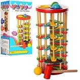 Деревянная игрушка Стучалка QZM-0205 - молоток, шарики 3шт, горка