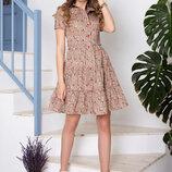 Романтичное Хлопковое платье с цветочным орнаментом 44-50р