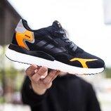 Кроссовки мужские В01806, чорные с оранжевым