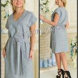 L-XX, цвета. Платье лен. с поясом. Летнее платье, Жіноча сукня літня, Женское платье. Льняное платье