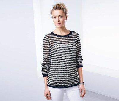 Стильный полосатый вязаный свитер, р. наши 54-56 48/50 евро