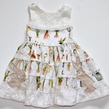 Next. Хлопковое пышное платье с зайцами. 6-9 мес.