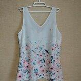 Легкая шифоновая блуза майка топ с цветами