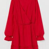 Платье с V-образным вырезом из шифона H&M НМ