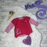 Реглан кофта на девочку 6-9 месяцев красный с вышивкой