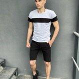 Комплект летний Футболка Color Stripe серая - черная Шорты трикотажные черные Intruder