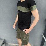 Комплект Футболка Color Stripe черная - хаки Шорты Miami хаки Intruder